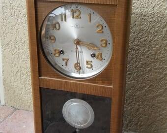 Vintage Ryusuisha Regulator Wall Clock, Rare Model, Japan, Mid 1900s, NO Issues Beautiful Flame Veneer Front & Works/Chimes Perfectly!