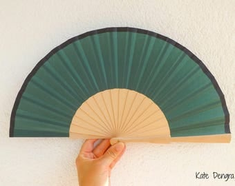 Dark Green With Black Border Spanish Hand Fan Limited Edition by Kate Dengra Spain