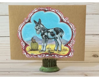 Little Desert Donkey with Chipmunks Notecards and Envelopes