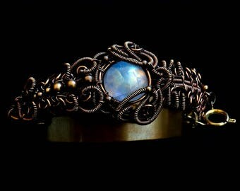 Wire Wrapped Moonstone Bracelet - Gemstone Bracelet - Brass Cuff - Bohemian jewelry - Victorian Collection