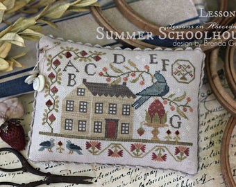 NEW SUMMER CLUB Summer Schoolhouse Lessons in Abecedarian cross stitch patterns kit by With Thy Needle & Thread at thecottageneedle.com