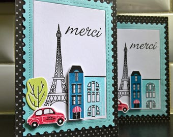 Merci Cards Set of 2, Paris Thank You Cards, Eiffel Tower, Merci Thank You Notes, French Greeting Cards Set, Gift for Traveler,