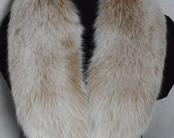 Real Fox Fur Collar Blush Snow Top Detachable New Made in the USA Genuine Authentic