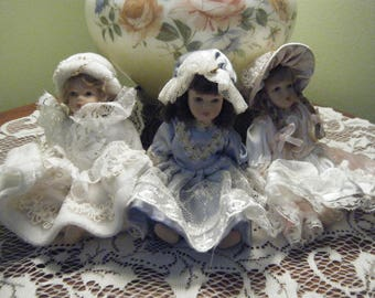 Three Victorian Dolls Vintage Miniatures New With Tags