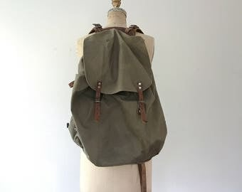 vintage Swedish Army rucksack / leather backpack / waxed canvas backpack