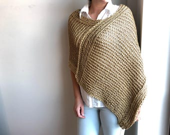 Knit poncho / Knit shrug / Knit wrap / wrap / poncho / Women cape / Wool wrap sweater / Hand knitted poncho, Wool capelet