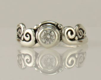 R1130- Sterling Silver Moissanite Ring- One of a Kind
