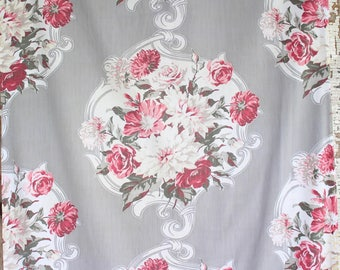 Paris Gray Pink Cabbage Roses Floral Pattern 30s 40s Vintage Fabric Decorative Throw Pillow Cushion