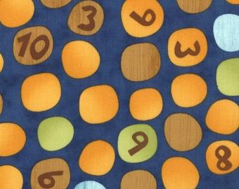 Jenn Ski Fabrics, Numbers on Dots in Navy, Ten Little Things by Jenn Ski for Moda Fabric, 30503-20