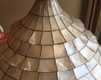 Vintage capiz tiered chandelier