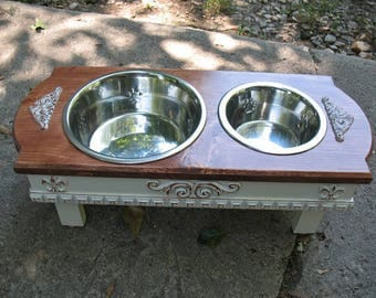 Elevated Dog Bowl Feeding Stand, Medium, Brown Mahogany Stain, Pet Feeding Station, 1 Two Qt, 1 One Qt Stainless Bowls Made to Order
