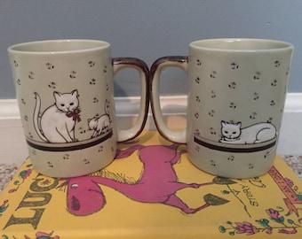 Vintage Otagiri Embossed White Cat and Kitten Coffee Mugs