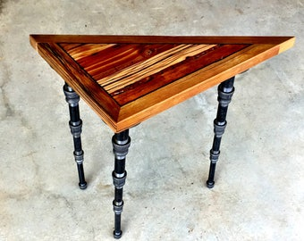 Right Angled Triangular Industrial / Steampunk End Table With Pipe Legs