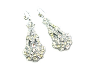 Art Deco French Paste Earrings.  Long Chandelier Dangles. Pierced Wires, Collet Set, Milgrain Edges. Vintage 1920s Statement Jewelry