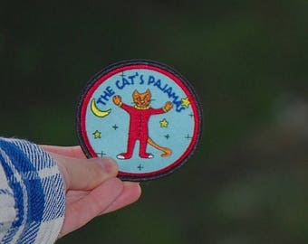 Back To School Sale The Cat's Pajamas Patch (Free US Shipping) Crazy Cat lady gift crescent moon wizard sorcerer embroidered magic cat patch