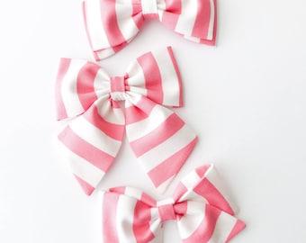 Pink Valentine's Day Bows - Baby Valentine's Day Headbands - Pink Stripe Valentine's Day Bow - Valentine Bows - Baby Valentine Bow -Pink Bow