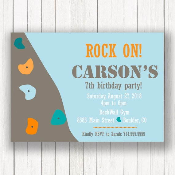 Rock Climbing Birthday Party Invitation Rock Wall Invite