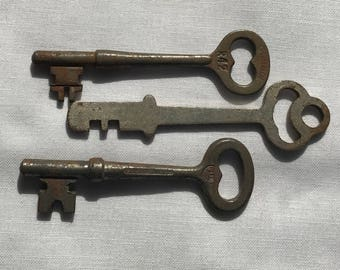 Three Old Antique Iron Skeleton Keys