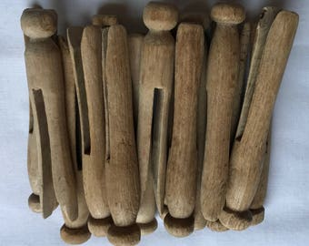 Fifteen Old Wood Clothes Pins