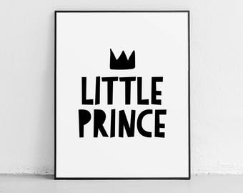 Little Prince Printable, nursery boy decor, kids wall art, children decor, black and white kids decor, boy room decor, baby boy wall decor