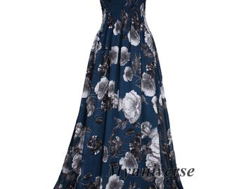 Maxi Dress Women Plus Sizes Clothing Long Floral Dress Casual Beach Party Wedding Guest Blue Chiffon Summer Sundress Cruise Holiday Sundress