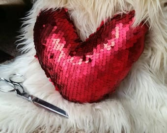 SALE til 11/23 Sequin Heart Mini Pillow. 11 inches wide, 10 tall. Pretty and cute!