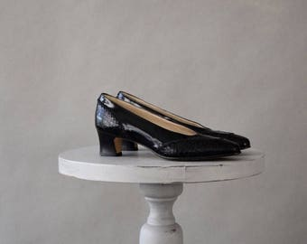ON SALE Vintage Black Leather Bally Shoes