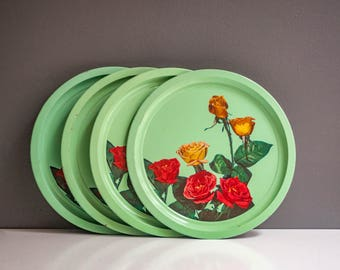 Vintage Round Mint Green Rose Tray