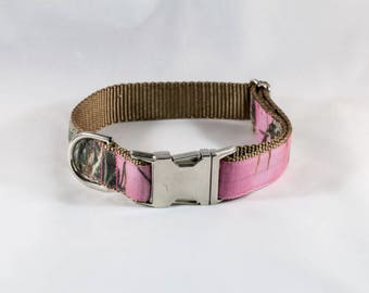 The Sporting Pup Pink Camo Dog Collar--Brown