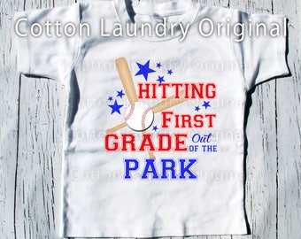 "Back to school Baseball themed class shirt baseball short sleeve style baseball style ""Hitting First Grade out of the park] or any grade"