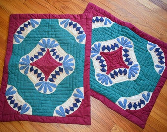 Handmade Vintage Quilted Pillow Shams Set of 2 Cases Dutch Boho Hippie Gypsy Home Decor Pillows Bohemian Cottage Patchwork Kitschy Textile