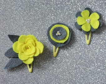 Yellow and Grey Baby Hair Clips - Set of 3 Baby Snap Clips - Hair Bow - Hair Clip - Felt Hairclip for Babies and Toddlers