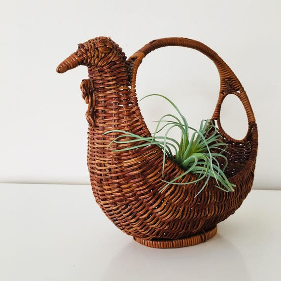 Vintage Brown Bird Basket Woven Wicker Bird Basket Planter Boho Decor