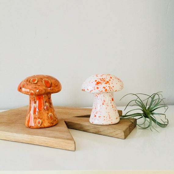 Vintage Mushroom Salt and Pepper Shakers Set of (2) Retro Ceramic Orange Mushroom Kitchen Decor