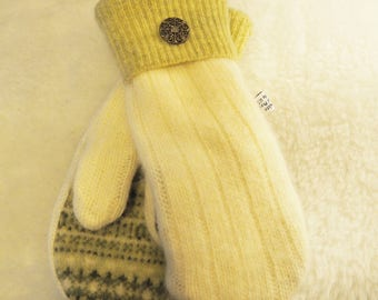 Wool Sweater Mittens, Angora, Rabbit Fur, Cream and Sage Green,   Small