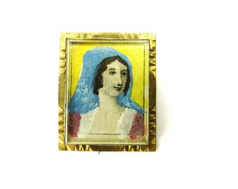 Antique Portrait Brooch Miniature Hand Painted Pin Victorian Jewelry Pointalism 1890s