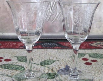 2 Antique Vintage Tiffin Franciscan Crystal Etched Sherry/Cordial Charmain Pattern Circa 1920's, RARE FIND