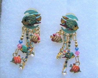 """Lunch At The Ritz """"Back To School"""" Earrings POST"""