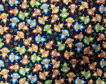 Mini Monkey Fabric Urban Zoologie Minis AAK-15311-09 Navy Monkeys all over  by Robert Kaufman
