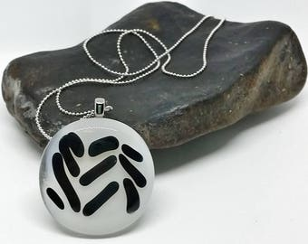 Black and White Line Glass Pendant with Silver Chain