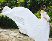 Julianna white maternity dress,Maternity Gown,fully  lined,mermaid gown,bohemian dress,bridal,wedding,bridesmaids,flower girl