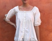 HOLD FOR NANCY Payment 1 Antique white cotton Blouse Victorian Eyelet lace Edwardian pintuck blouse. Women's shirt. Steampunk