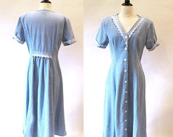 1/2 Off SALE Vintage 70s Blue Denim Dress, Vintage Button Dress, Long Jean Dress