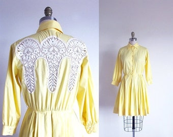 1/2 Off SALE Vintage 50s Yellow Dress, Cotton Shirtwaist, 1950 Rockabilly Dress, 50s Swing Full Skirt Dress, Western Dress