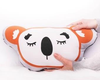 Koala softie plush toy cushion throw pillow - Kids beds - Kids rooms - Nursery decor - Orange + White - Kids throw pillow - Australia EtsyAU