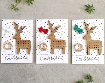 Christmas reindeer cross stitch kit - Scandi decoration - laser cut decorations - christmas decoration - DIY holiday crafts - DIY kit