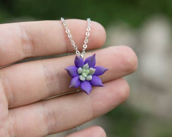 Small Deep Purple Succulent Planter Necklace Pendant Wholesale Mini Succulent Plants Arrangement Succulent Jewelry Wedding Bridal Gifts