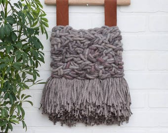 Neutral Woven Wall Hanging | Natural Weaving | Modern Tapestry with Rug Yarn, Cotton Fringe and Leather Accents