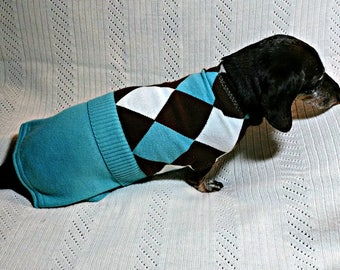 Dachshund sweater in teal blue green acrylic harlequin knit fabric sewn to fit and stay on