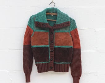 1970's Knitted & Leather Toggle Button Cardigan Sweater Jacket Brown, Rust, and Green